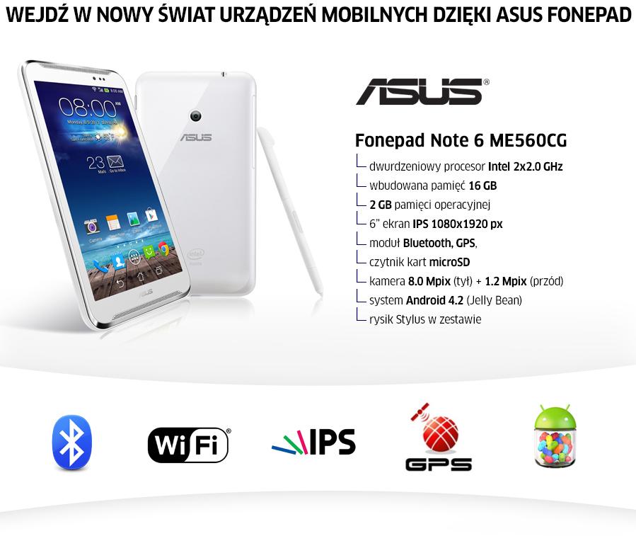Asus Fonepad Note Z2580 2gb 16gb Fhd Ips Bialy Smartfony I Telefony Sklep Komputerowy X Kom Pl